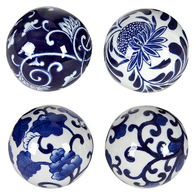 Set of 4 Decorative Ceramic Balls - Blue