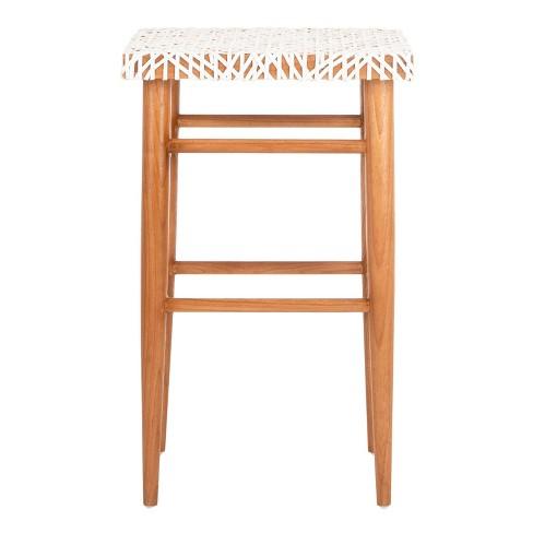 Strange Kaleo Woven Leather Barstool White Safavieh Lamtechconsult Wood Chair Design Ideas Lamtechconsultcom