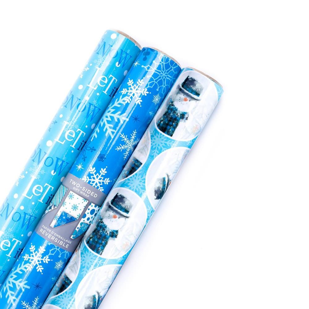 Image of 3ct/120 Hallmark sq ft Christmas Gift Wrap Blue