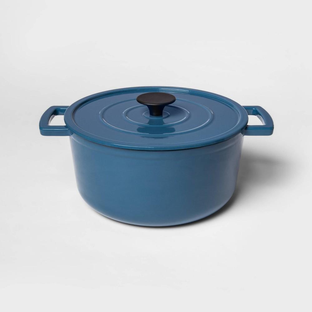 Image of 5qt Cast Iron Round Dutch Oven Blue - Threshold