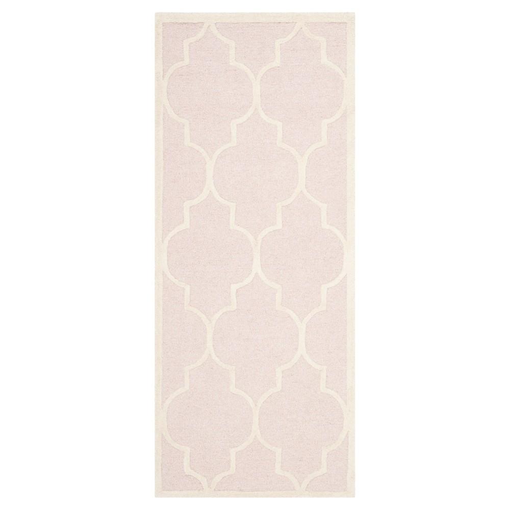 Image of Light Pink/Ivory Alexander Wool Textured Runner Rug 2'6x6' - Safavieh