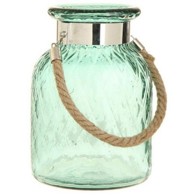 """Raz Imports 9.75"""" French Countryside Hanging Green Harlequin Glass Lantern with Jute Handle"""