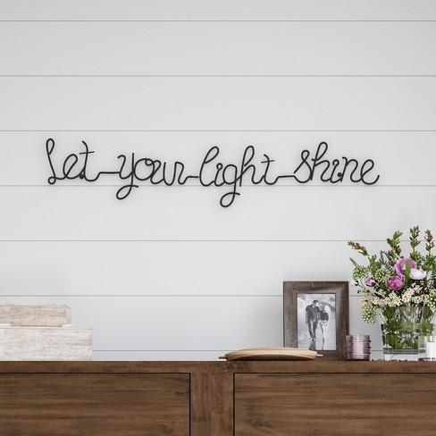 """Let Your Light Shine"" Cursive Metal Cutout Sign Black - Lavish Home - image 1 of 3"