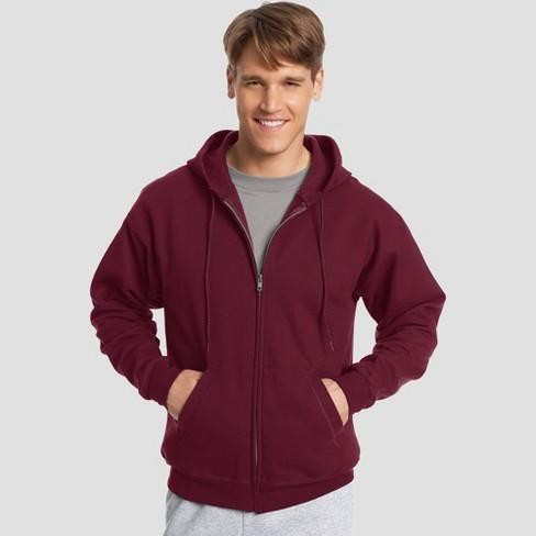 a034ee35 Hanes Men's EcoSmart Fleece Full Zip Hooded Sweatshirt - Maroon 2XL : Target