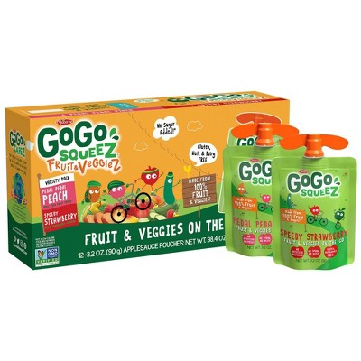 GoGo squeeZ Fruit & VeggieZ, Variety Peach/Strawberry - 3.2oz/12ct