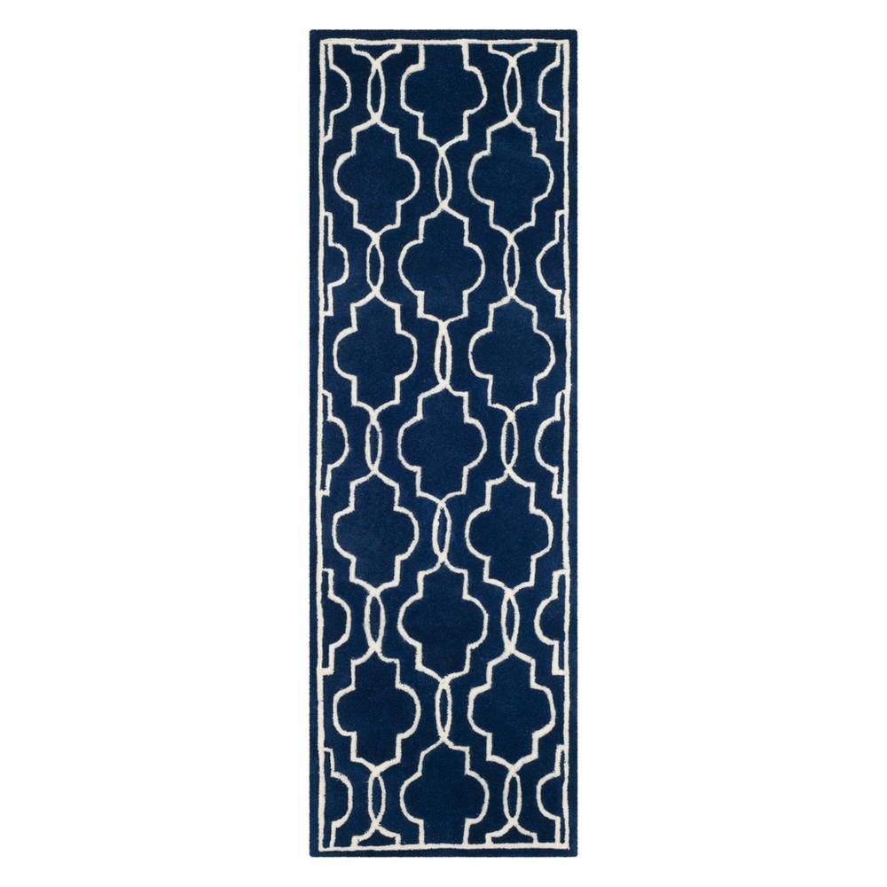 23X9 Quatrefoil Design Tufted Runner Dark Blue/Ivory - Safavieh Buy