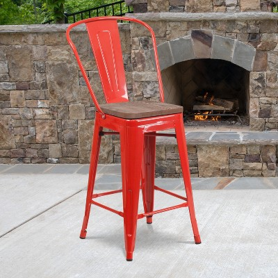 """Flash Furniture 24"""" High Metal Counter Height Stool with Back and Wood Seat"""