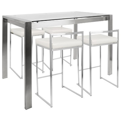 5pc Lumisource Fuji Contemporary Counter Height Dining Set White