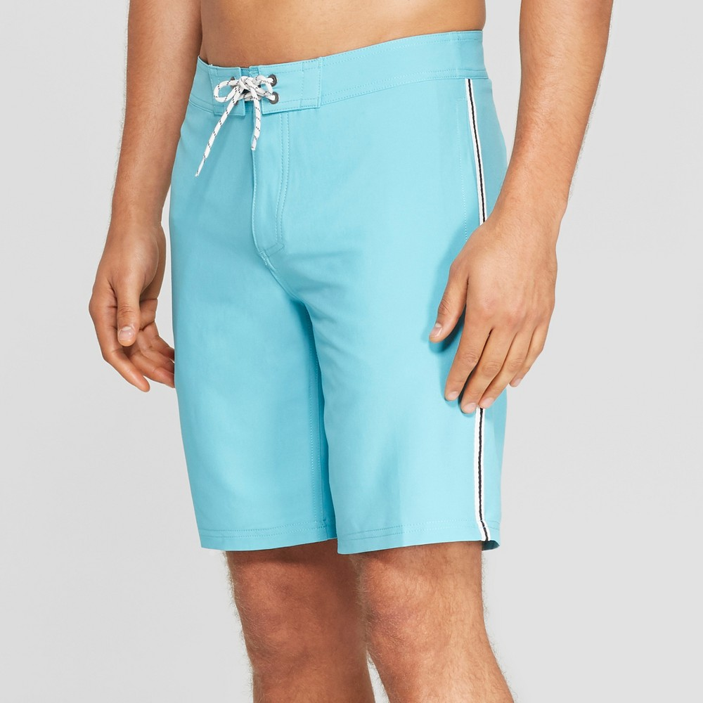 Men's 10 Taped Board Shorts - Goodfellow & Co Turquoise 30