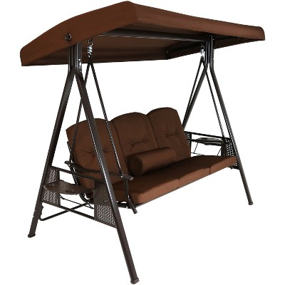 Sunnydaze Outdoor 3-Person Aluminum Patio Swing with Adjustable Canopy, Cushions and Pillow, Brown