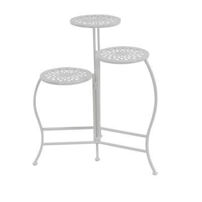 "24"" x 20"" Modern 3-Tier Folding Plant Stand White - Olivia & May"