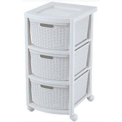 3 Drawer Rolling Cart White - Inval