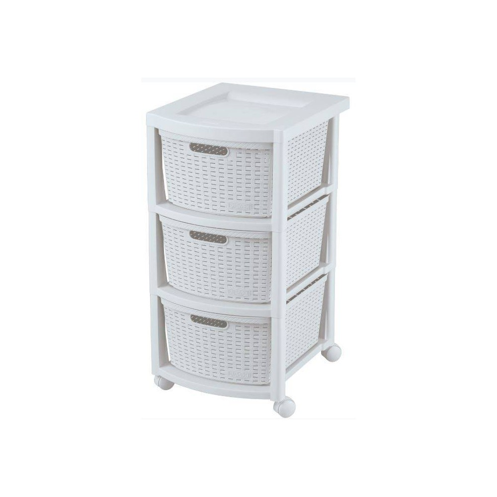 Image of 3 Drawer Rolling Cart White - Inval