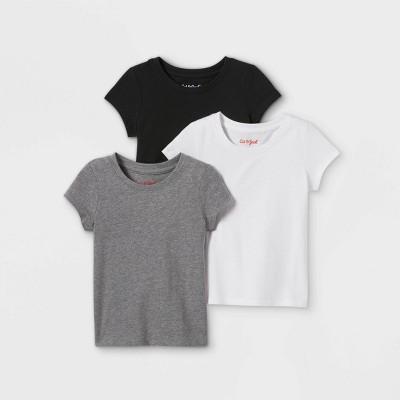 Toddler Girls' 3pk Solid Short Sleeve T-Shirt - Cat & Jack™ White/Black/Gray