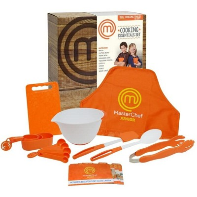 Jazwares MasterChef Junior Cooking Essentials Set - Kit Includes Real Cookware For Kids, Recipes & Apron, 9pc