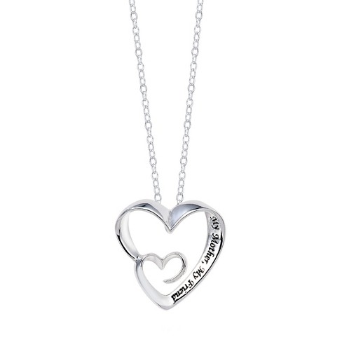 "Sterling Silver My Mother My Friend Heart Pendant - Silver (18"") - image 1 of 2"