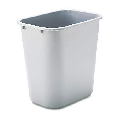 Rubbermaid Commercial Deskside Plastic Wastebasket Rectangular 7 gal Gray 295600GY