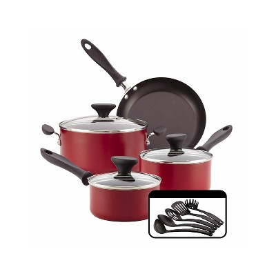 Farberware® Reliance Aluminum Nonstick 12pc Cookware Set Red