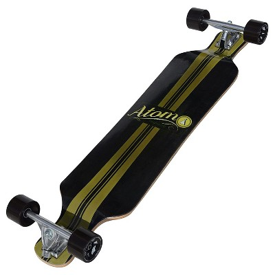 Atom Micro Maple Drop Deck Longboard Cruiser Complete w/ Board, Bearings, and Wheels for Freeride Skateboard Carving Cruising, 39 Inch (Artisan Brown)