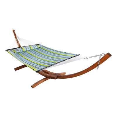 Sunnydaze Quilted Double Fabric 2-Person Hammock with Curved Arc Wood Stand - 400 lb Weight Capacity/13' Stand - Blue and Green