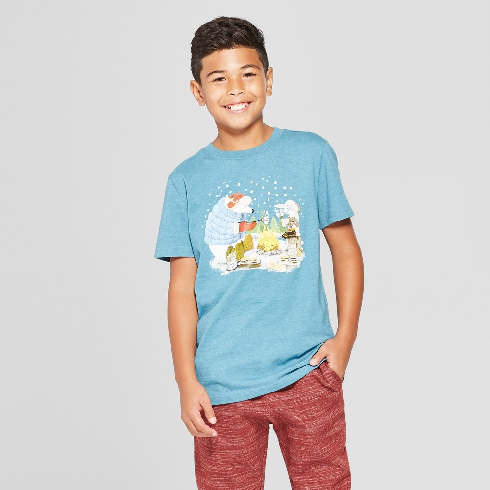 Boys' Camp Fire Animals Short Sleeve Graphic T-Shirt - Cat & Jack Blue M