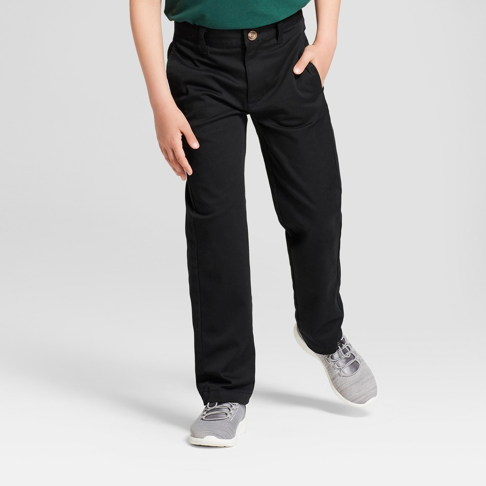 Boys' Flat Front Uniform Chino Pants - Cat & Jack Black 8 Slim