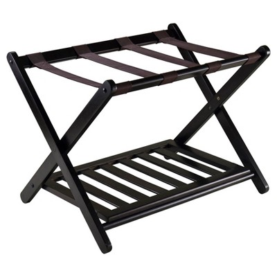 Reese Luggage Rack With Shelf Dark Espresso Brown - Winsome
