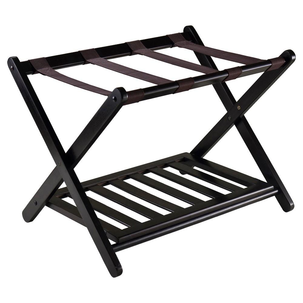 Reese Luggage Rack With Shelf Dark Espresso Brown - Winsome
