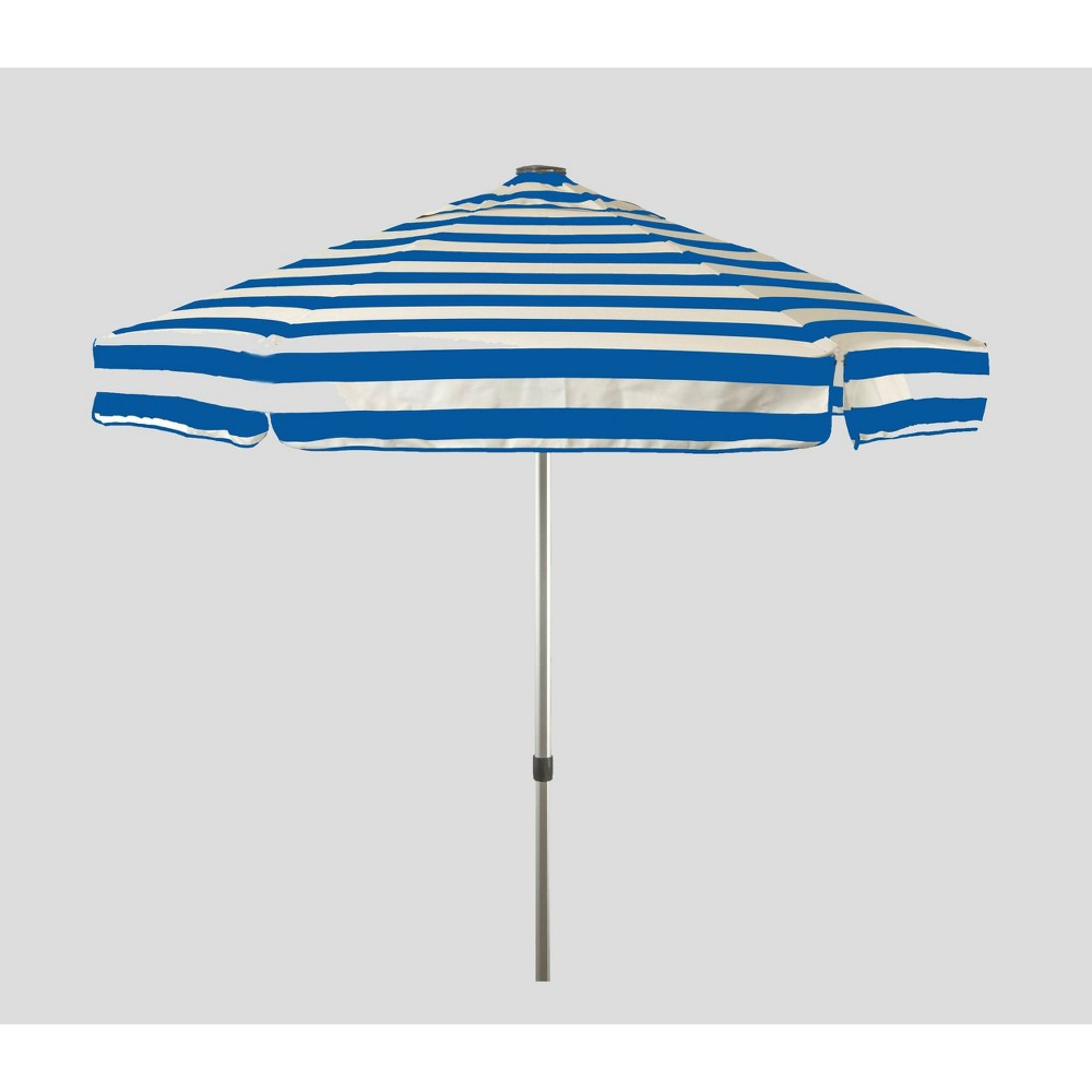 Image of 6.5' Striped Market Umbrella Blue/White - Parasol