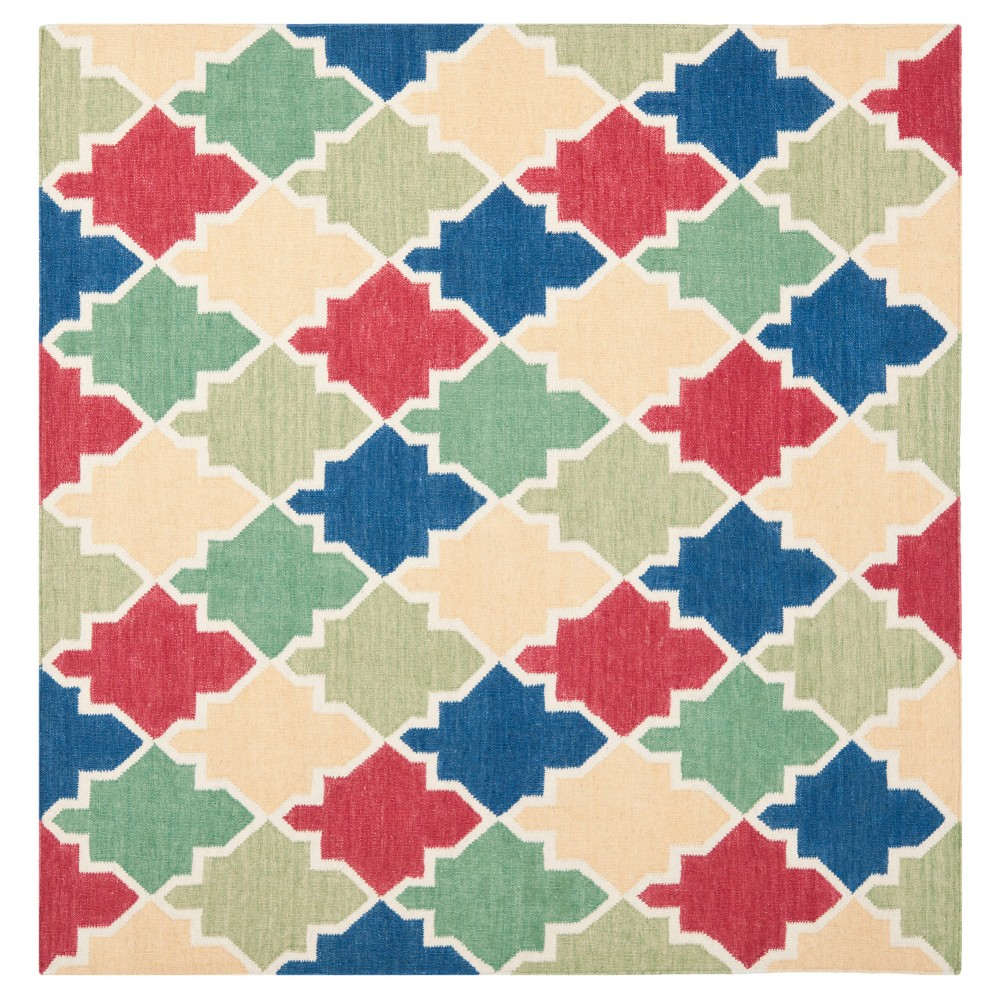 Tara Dhurry Rug - Blue/Multi - (6'x6' Square) - Safavieh, Blue/Red