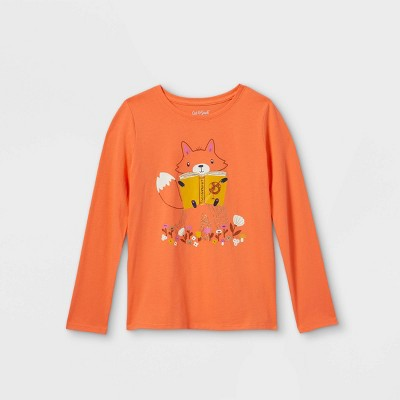 Girls' Printed Graphic Long Sleeve T-Shirt - Cat & Jack™ Apricot Orange