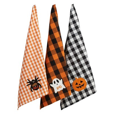 3pk Boo! Embellished Dishtowels Orange/Black - Design Imports