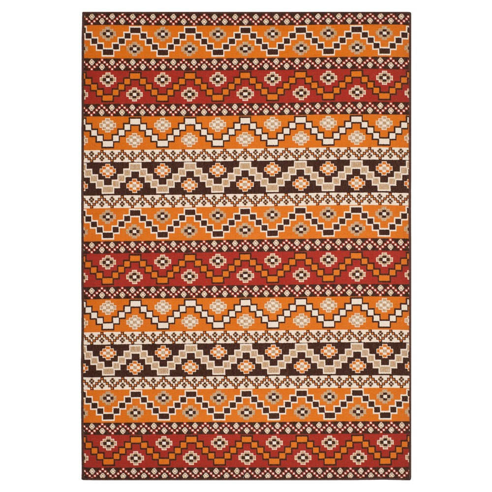 Elche Area Rug - Red/Chocolate (Red/Brown) (5'3