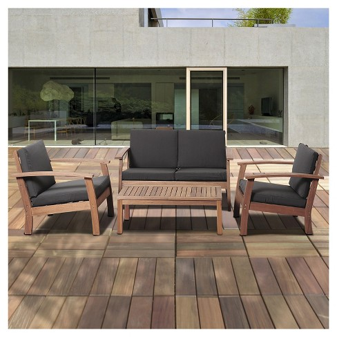 Laguna Beach 4 Piece Eucalyptus Wood Patio Set With Black Cushions