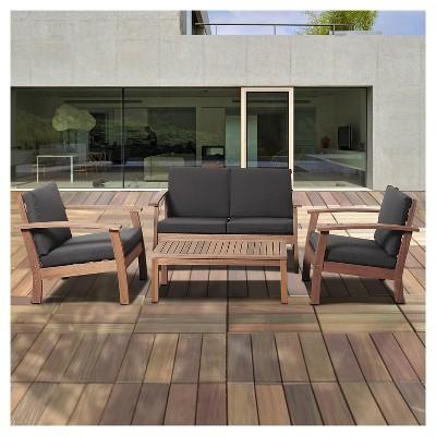 Target & Laguna Beach 4-Piece Eucalyptus Wood Patio Set with Black Cushions - Brown