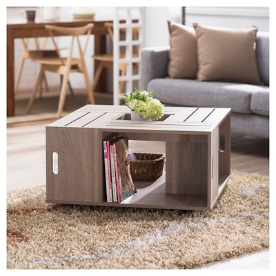 Beau Roseline Modern Crate Box Inspired Coffee Table   Furniture Of America