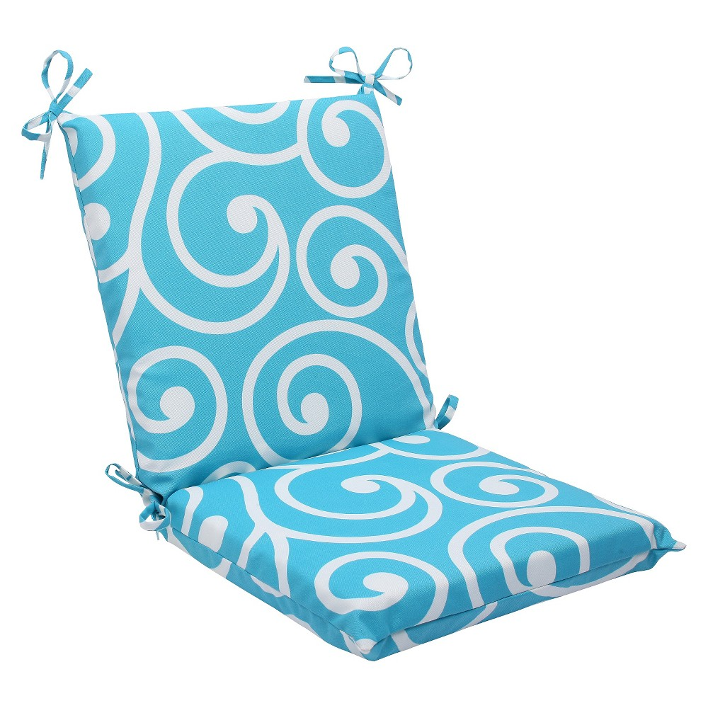 Pillow Perfect Best Outdoor Squared Edge Chair Cushion - Blue