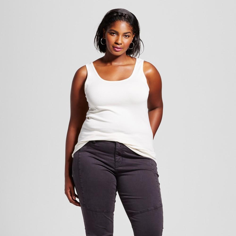 Women's Plus Size Perfect Tank - Ava & Viv Shell (White) 3X