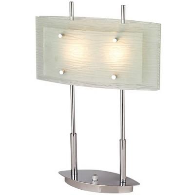 Possini Euro Design Modern Desk Lamp Chrome Satin Nickel Frosted Slump Glass Shade Dimmer Switch for Living Room Bedroom Office