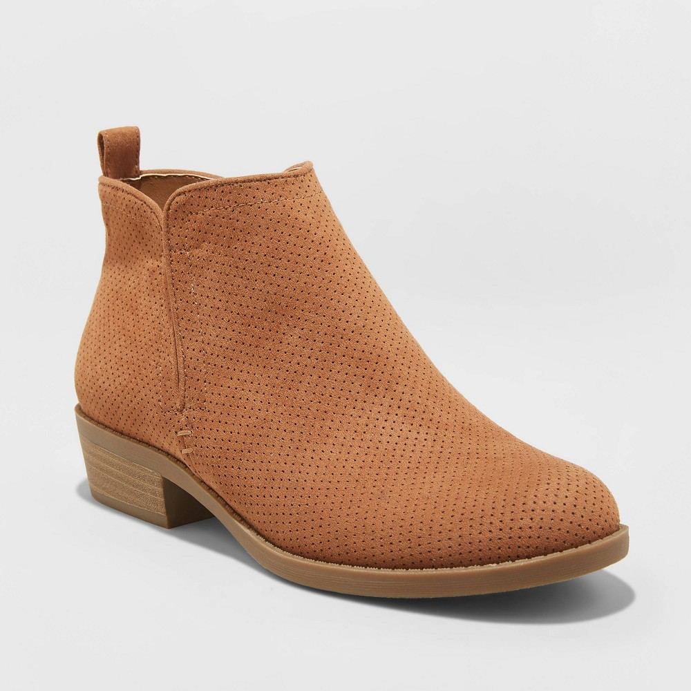 Women's Dylan Microsuede Laser Cut Bootie - Universal Thread Cognac 8, Red was $34.99 now $20.99 (40.0% off)