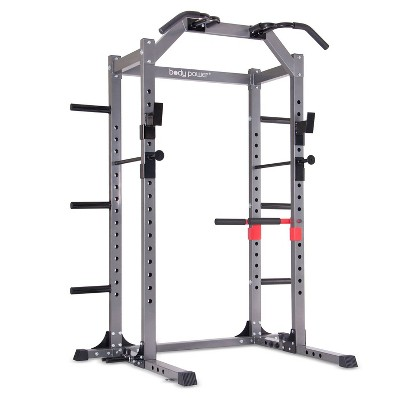 Body Power Deluxe Rack Cage with Accessories, Attachments, Safety Bars, and Built-In Floor-Mount Anchors for Home or Gym Workout