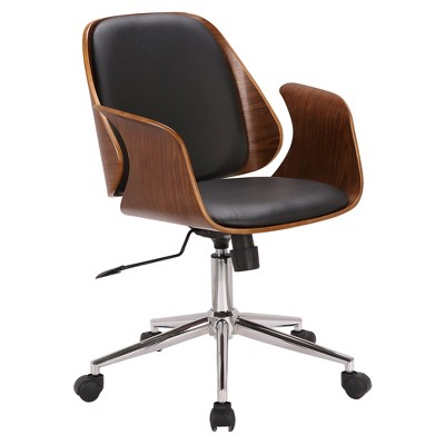 Santiago Mid Century Office Chair In Black Faux Leather With Walnut Wood  Finish   Armen Living