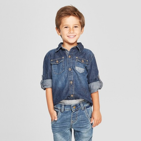 0f8a286ce9a Genuine Kids® From OshKosh Toddler Boys  Long Sleeve Denim Shirt - Dark  Blue   Target