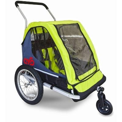 Cyclic Double 2 Seat Kids' Bike Trailer - Gray/Green
