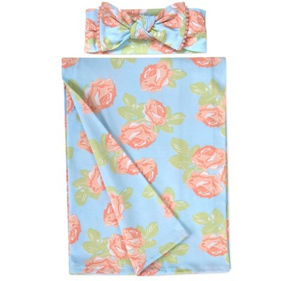 Baby Essentials Floral Swaddle and Headband Set