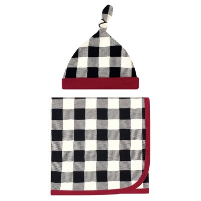 Touched by Nature Unisex Baby Organic Cotton Swaddle Blanket and Cap - Black Plaid One Size