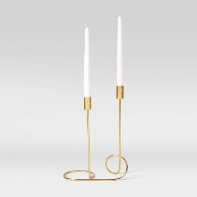 "12"" x 8.5"" Iron Taper Candle Holder Gold - Project 62™"