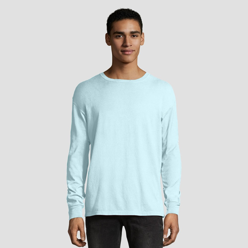Hanes 1901 Men's Long Sleeve T-Shirt - Sky Blue M