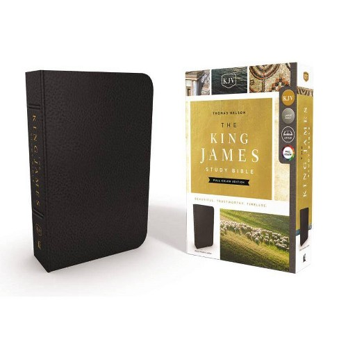 The King James Study Bible, Genuine Leather, Black, Full-Color Edition - by  Thomas Nelson