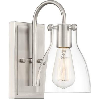 "Possini Euro Design Industrial Wall Light Sconce Brushed Nickel Hardwired 10"" High Fixture Clear Glass Bedroom Bathroom Hallway"